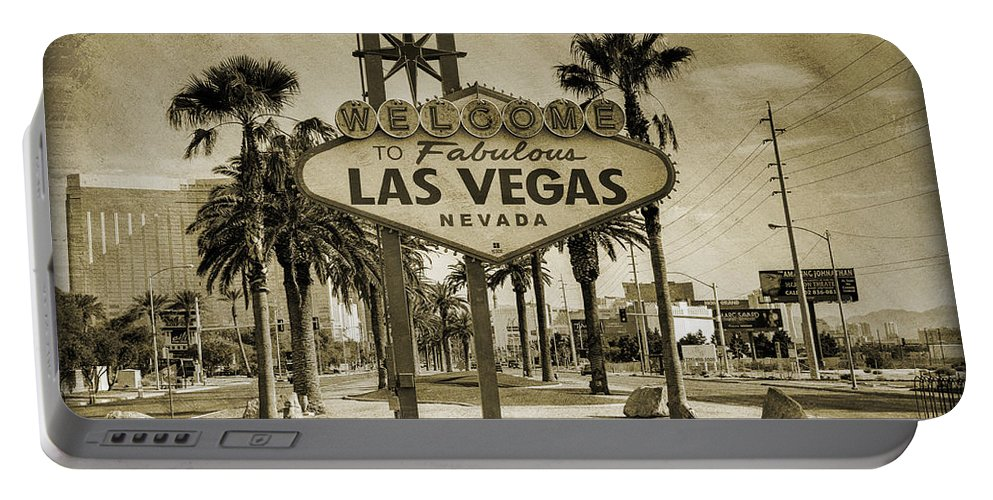 Las Portable Battery Charger featuring the photograph Welcome To Las Vegas Series Sepia Grunge by Ricky Barnard