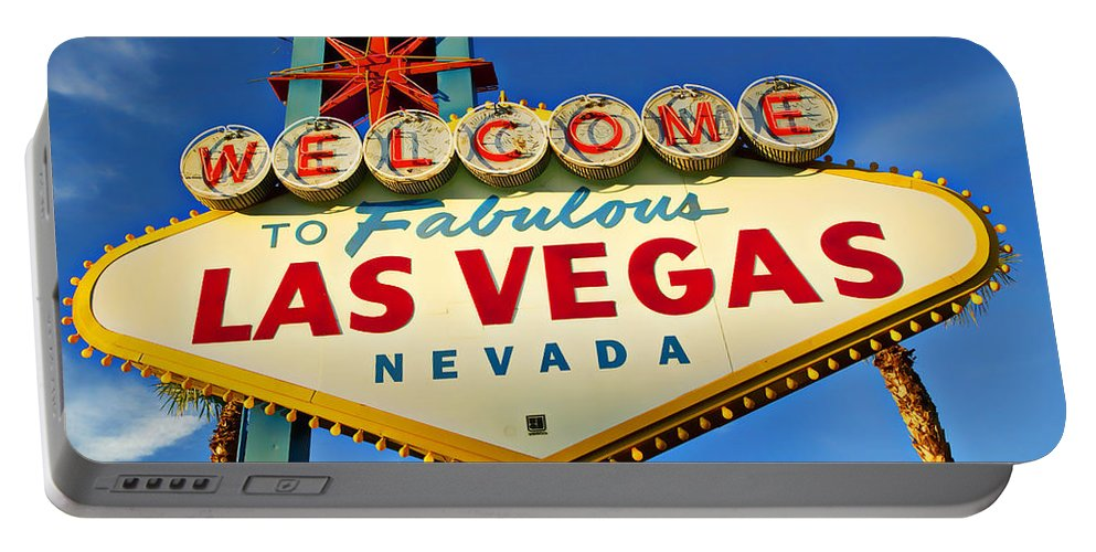 Welcome Las Vegas Sign Portable Battery Charger featuring the photograph Welcome To Las Vegas Sign by Garry Gay