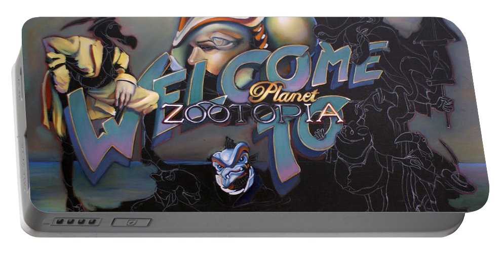 Mariner Portable Battery Charger featuring the painting Welcome To Planet Zootopia Wip by Patrick Anthony Pierson
