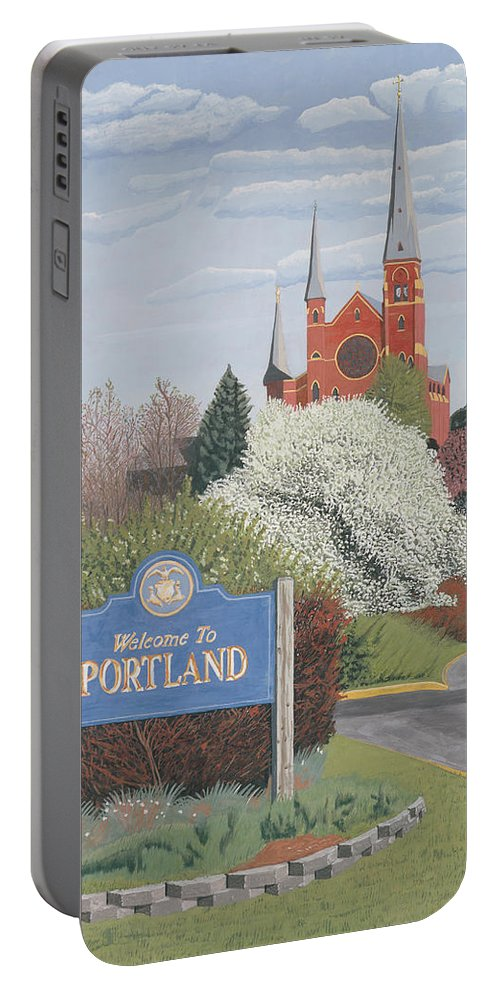 Church Portable Battery Charger featuring the painting Welcome To Portland by Dominic White