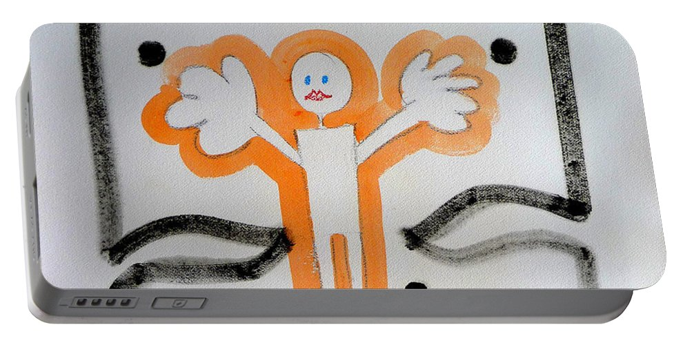 Drawing Portable Battery Charger featuring the painting welcome to the U N by Charles Stuart
