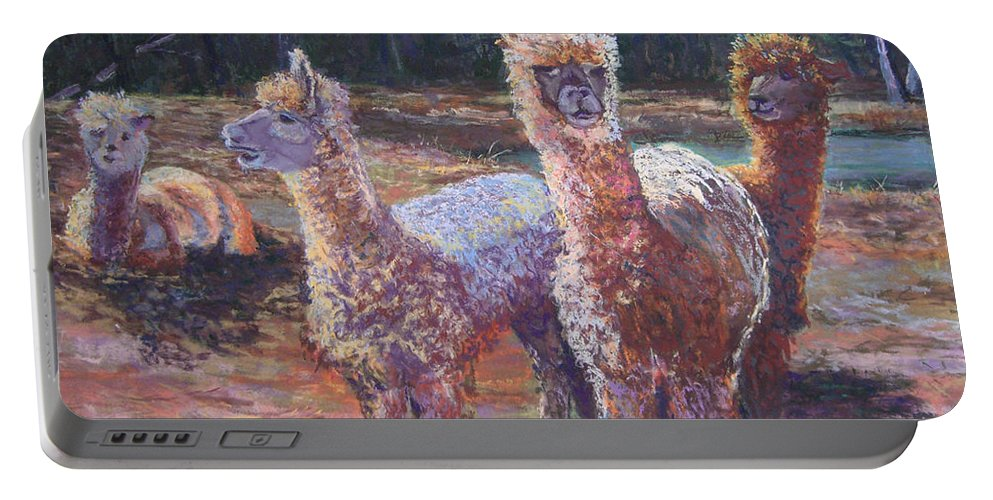 Alpaca Portable Battery Charger featuring the pastel Welcoming Crowd by Alicia Drakiotes