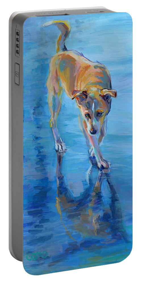 Mixed Breed Portable Battery Charger featuring the painting Well Hello Gorgeous by Kimberly Santini