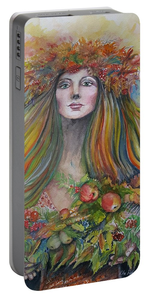 Autumn Portable Battery Charger featuring the painting Welcome To Autumn by Rita Fetisov