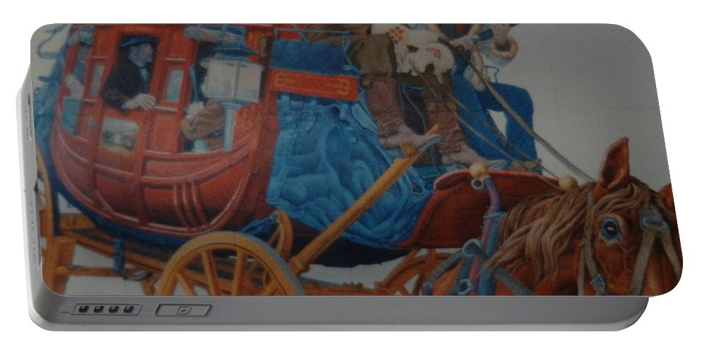 Mural Portable Battery Charger featuring the photograph Wells Fargo Stagecoach by Rob Hans