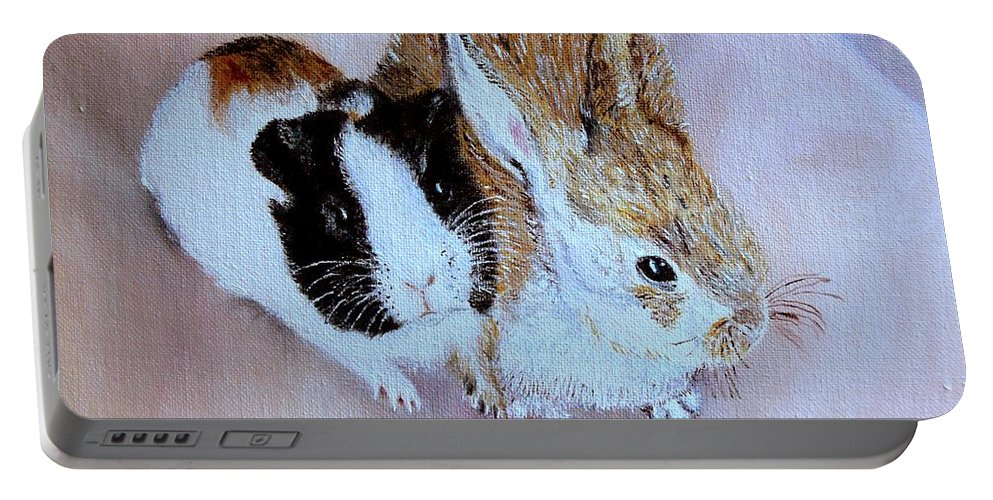 Pets Portable Battery Charger featuring the painting Wendy And Bobby by Helmut Rottler
