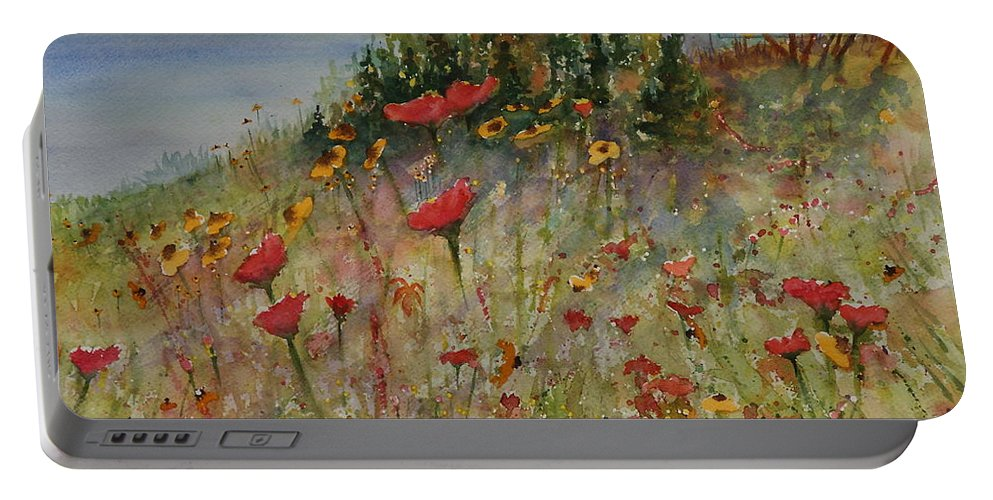 Nature Portable Battery Charger featuring the painting Wendy's Wildflowers by Ruth Kamenev