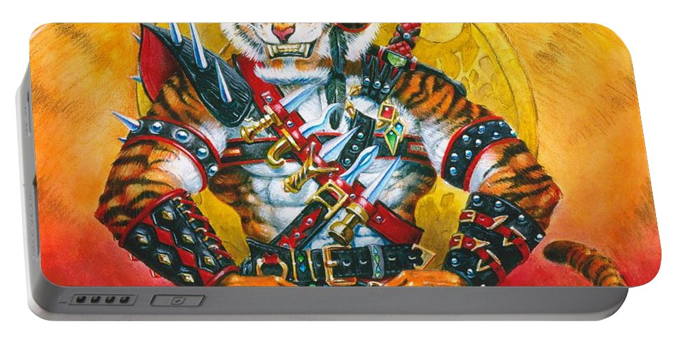 Fantasy Portable Battery Charger featuring the painting Werecat Warrior by Melissa A Benson