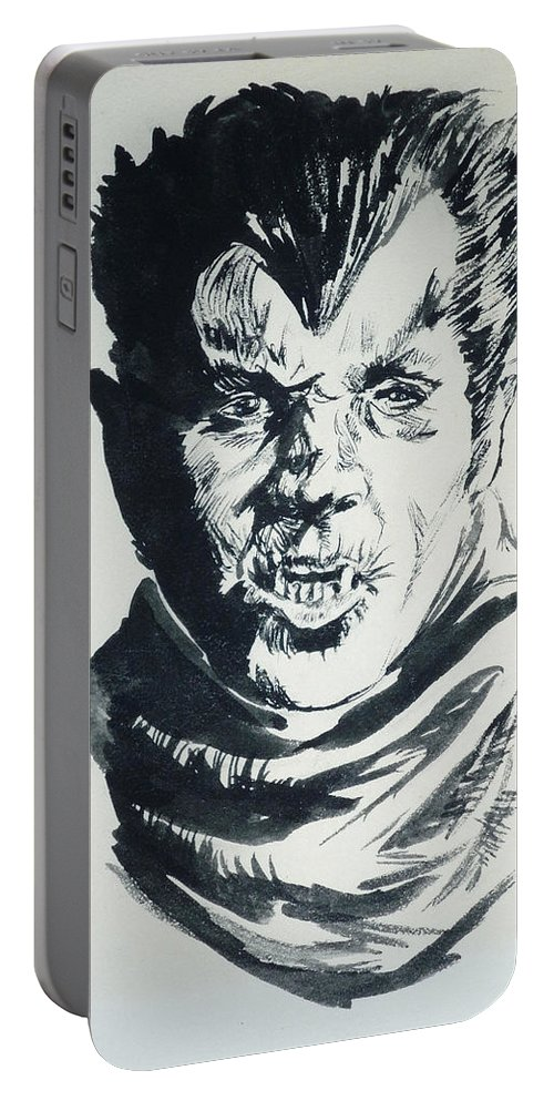 Werewolf Portable Battery Charger featuring the painting Werewolf Of London by Bryan Bustard