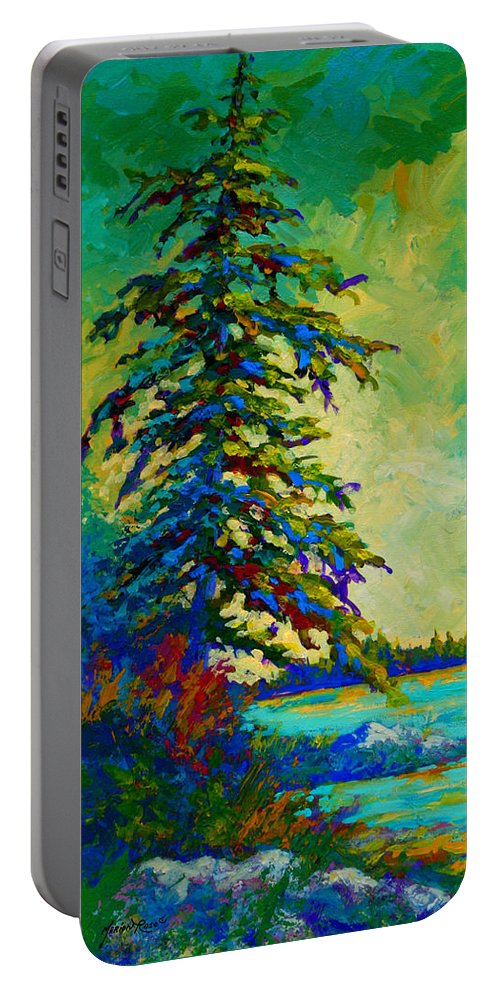 West Coastal Portable Battery Charger featuring the painting West Coast Sentinel by Marion Rose