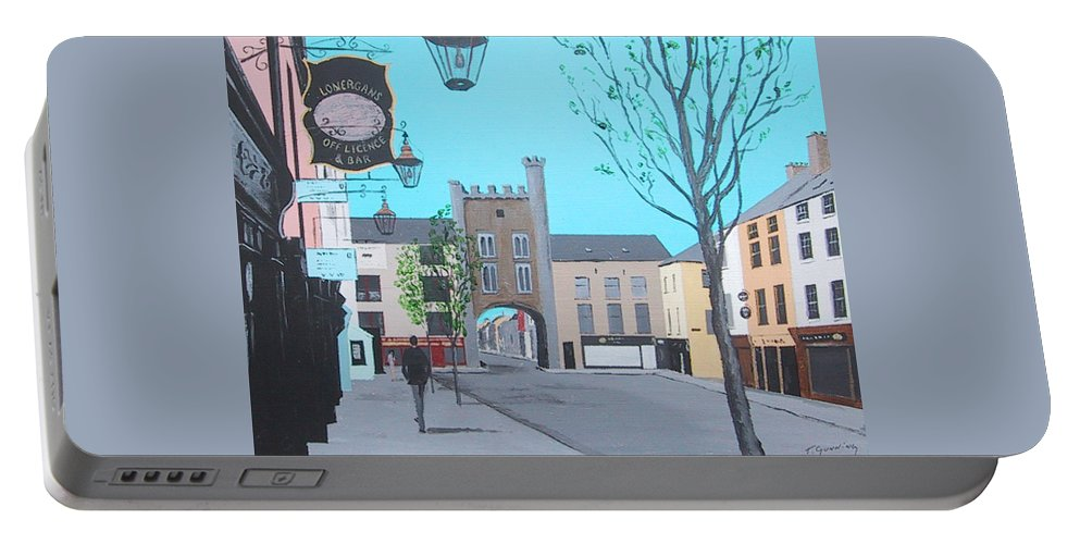 Clonmel Portable Battery Charger featuring the painting West Gate, Clonmel by Tony Gunning
