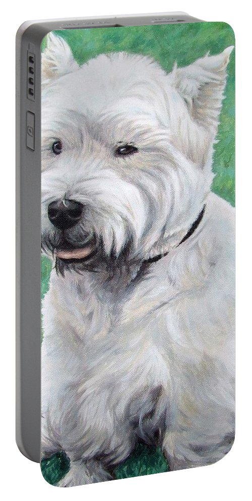 Dog Portable Battery Charger featuring the painting West Highland Terrier by Nicole Zeug