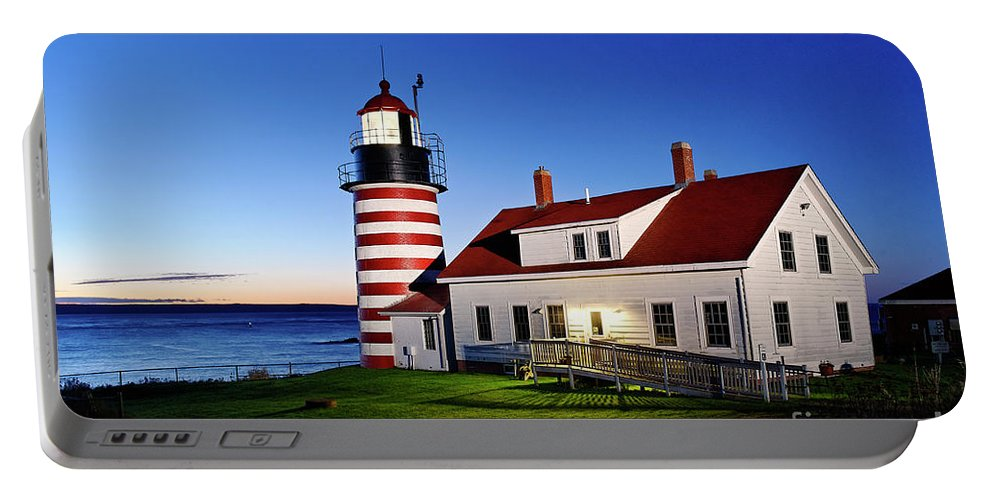 Lubec Portable Battery Charger featuring the photograph West Quoddy Lighthouse by John Greim