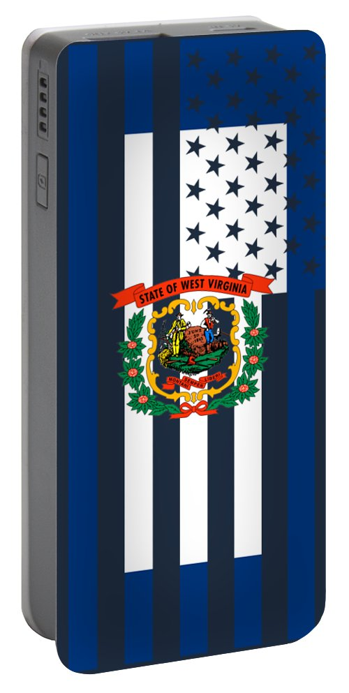 West Virginia Portable Battery Charger featuring the digital art West Virginia State Flag Graphic Usa Styling by Garaga Designs