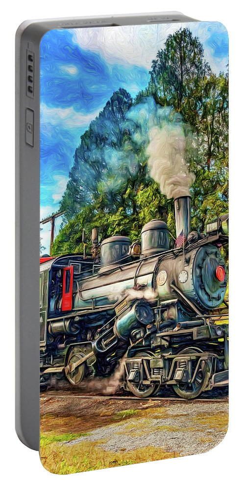 Pocahontas County Portable Battery Charger featuring the photograph West Virginia Steam Engine - Paint by Steve Harrington