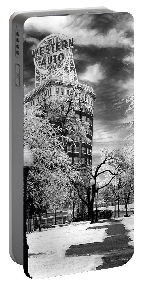 Western Auto Kansas City Portable Battery Charger featuring the photograph Western Auto In Winter by Steve Karol