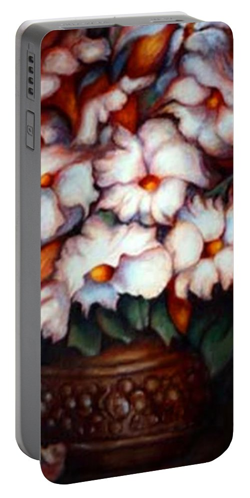 Flower Artwork Portable Battery Charger featuring the painting Western Flowers by Jordana Sands