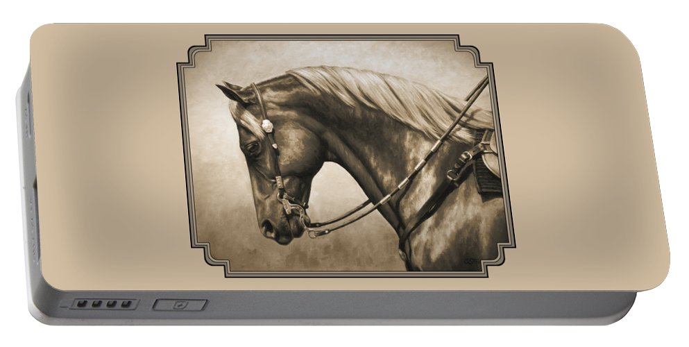 Horse Portable Battery Charger featuring the painting Western Horse Painting In Sepia by Crista Forest