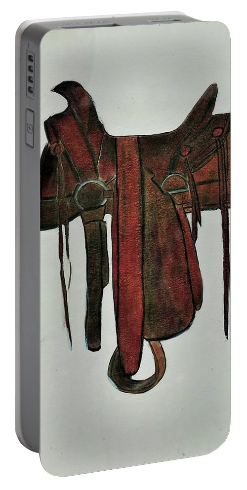 American Western Saddle Portable Battery Charger featuring the mixed media Western Saddle by Bry Martin