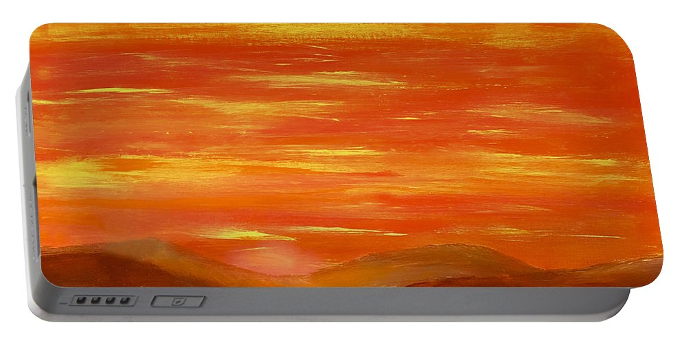 Orange Portable Battery Charger featuring the painting Western Skies by Dick Bourgault
