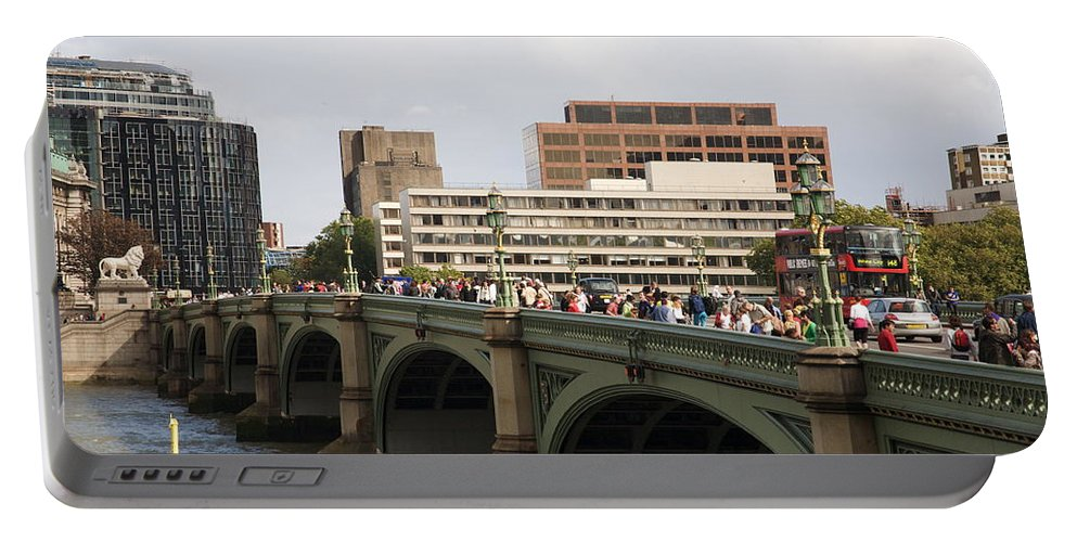 Westminster Portable Battery Charger featuring the photograph Westminster Bridge. by Christopher Rowlands