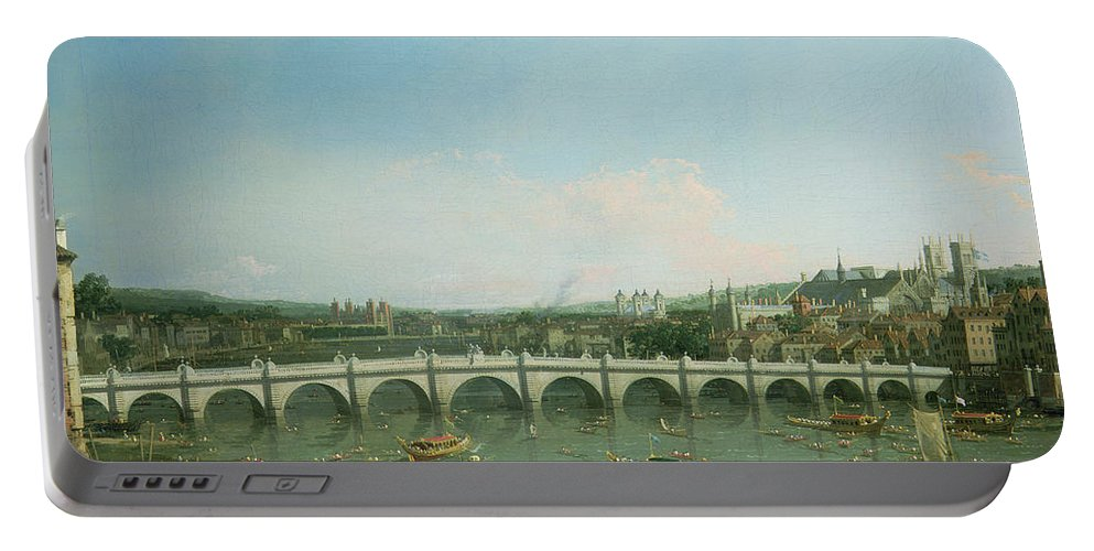 Canaletto Portable Battery Charger featuring the painting Westminster Bridge From The North With Lambeth Palace In Distance by Canaletto