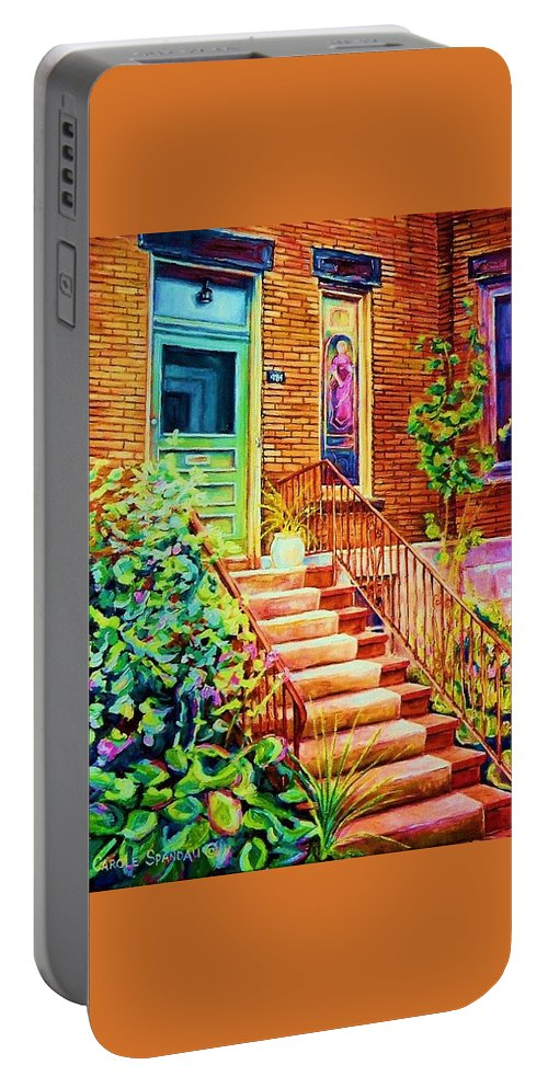 Westmount Home Portable Battery Charger featuring the painting Westmount Home by Carole Spandau