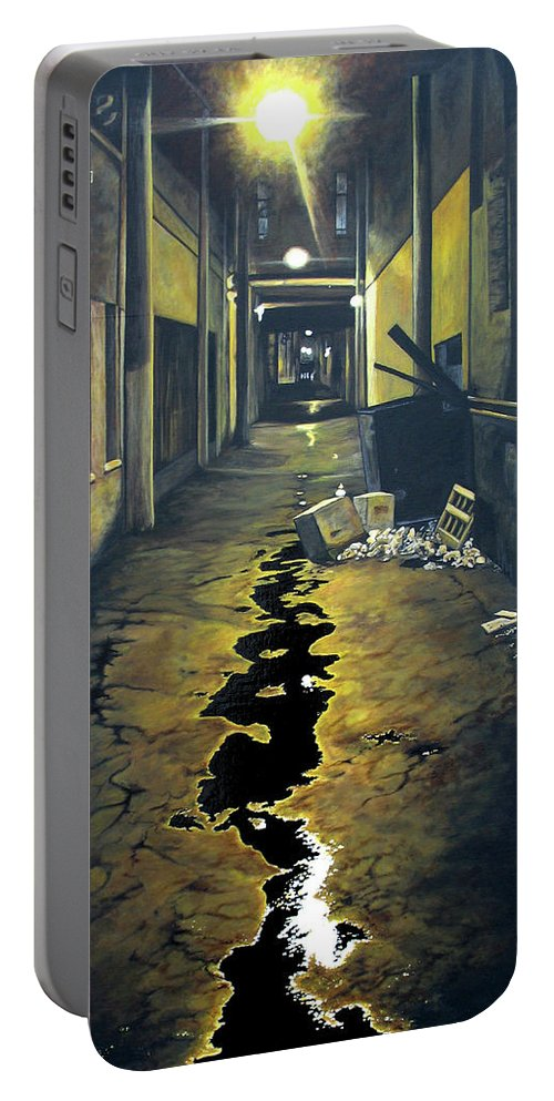 Urban Portable Battery Charger featuring the painting Wet Alley by Elaine Booth-Kallweit