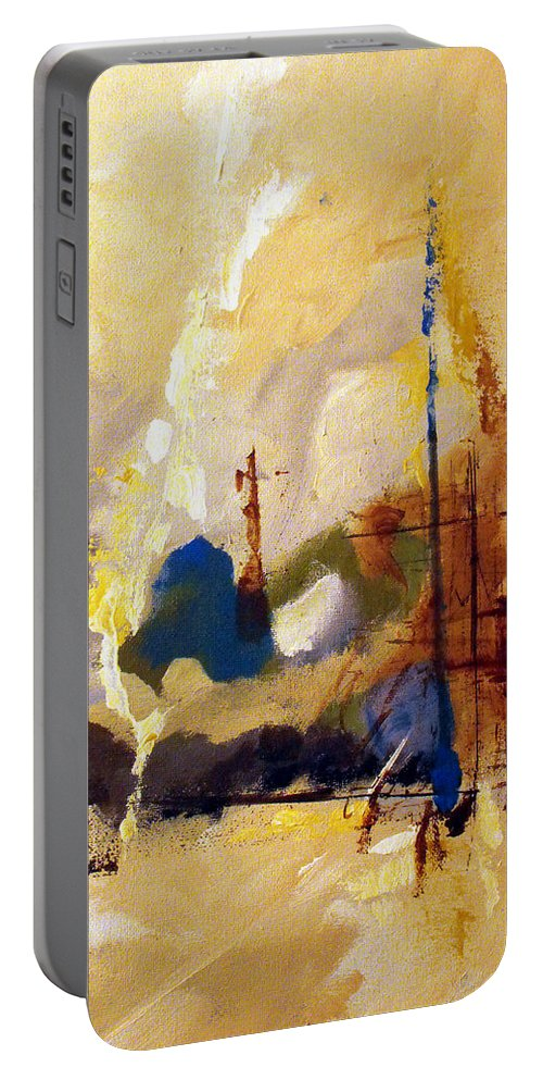 Abstract Portable Battery Charger featuring the painting Wharf by Ruth Palmer