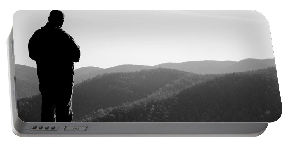 Mountains Portable Battery Charger featuring the photograph People Series - What A View by Arlane Crump
