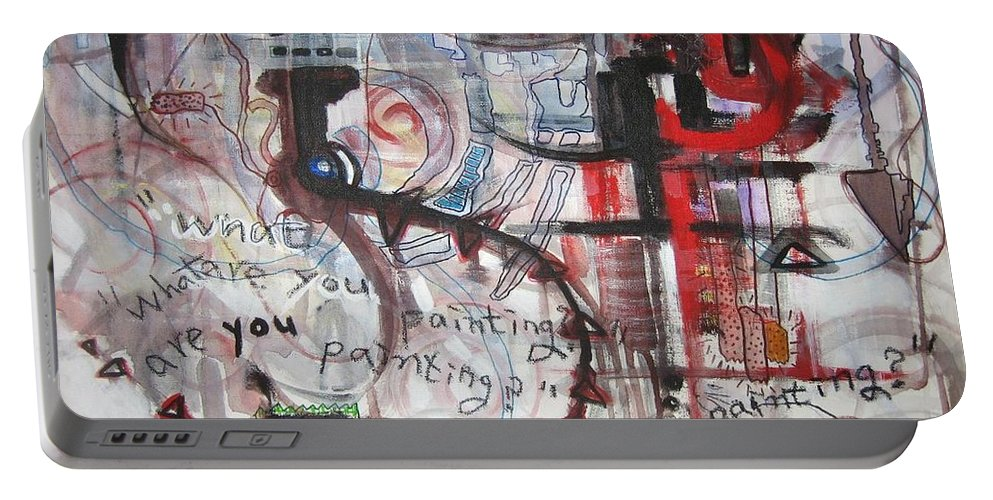 Abstract Paintings Portable Battery Charger featuring the painting What Are You Painting-red And Brown Painting by Seon-Jeong Kim