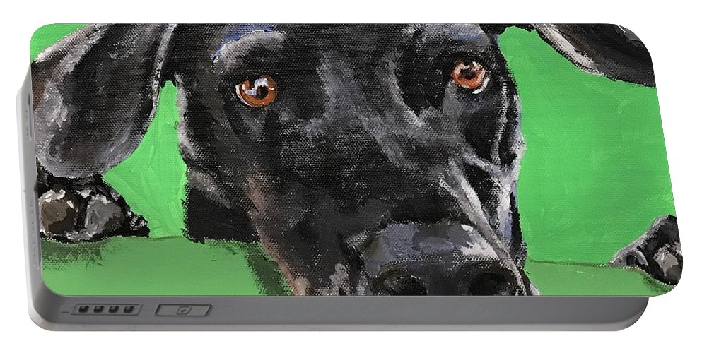 Abstract Portable Battery Charger featuring the painting What 'cha Doin? by Kathi Schwan