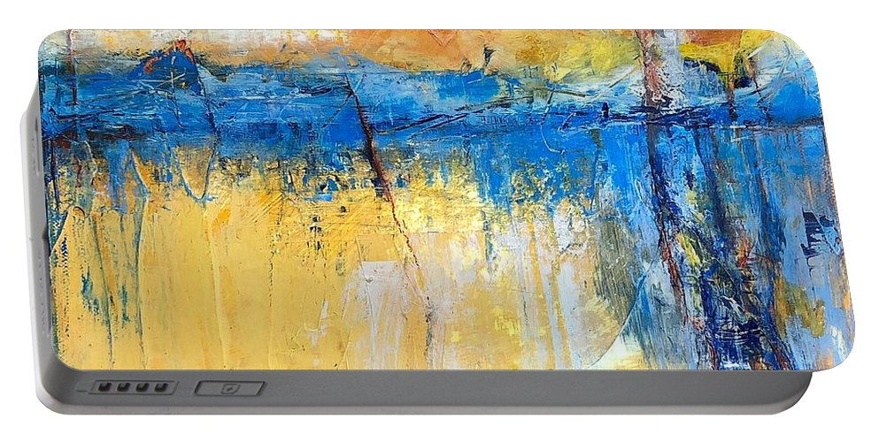 Abstract Portable Battery Charger featuring the painting What Lies Beyond by Mary Mirabal