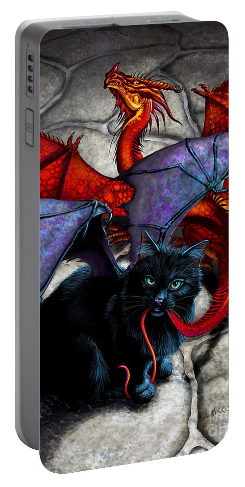 Fantasy Portable Battery Charger featuring the digital art What The Catabat Dragged In by Stanley Morrison