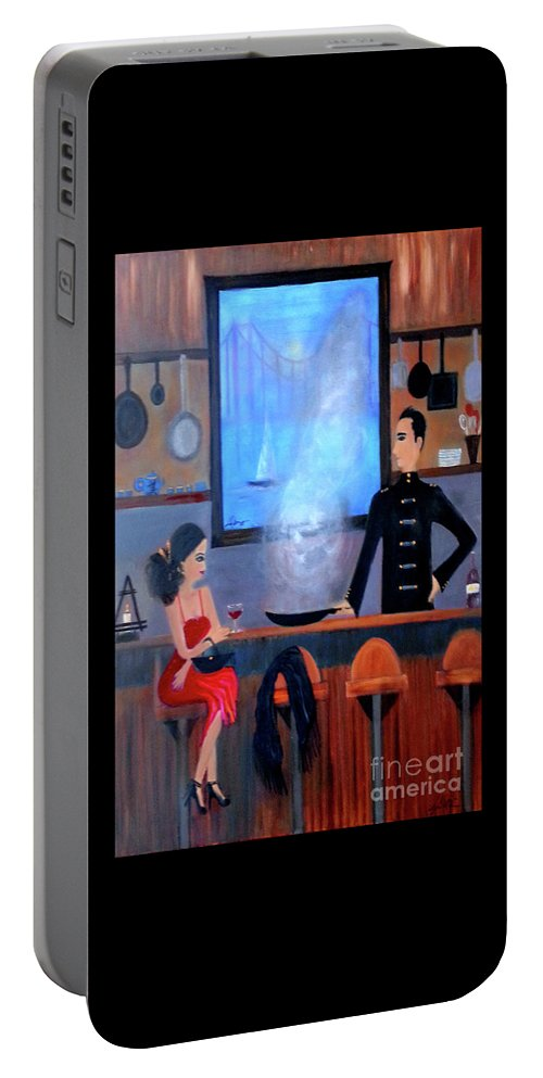 Food Portable Battery Charger featuring the painting What's Cookin'? by Linda Marie