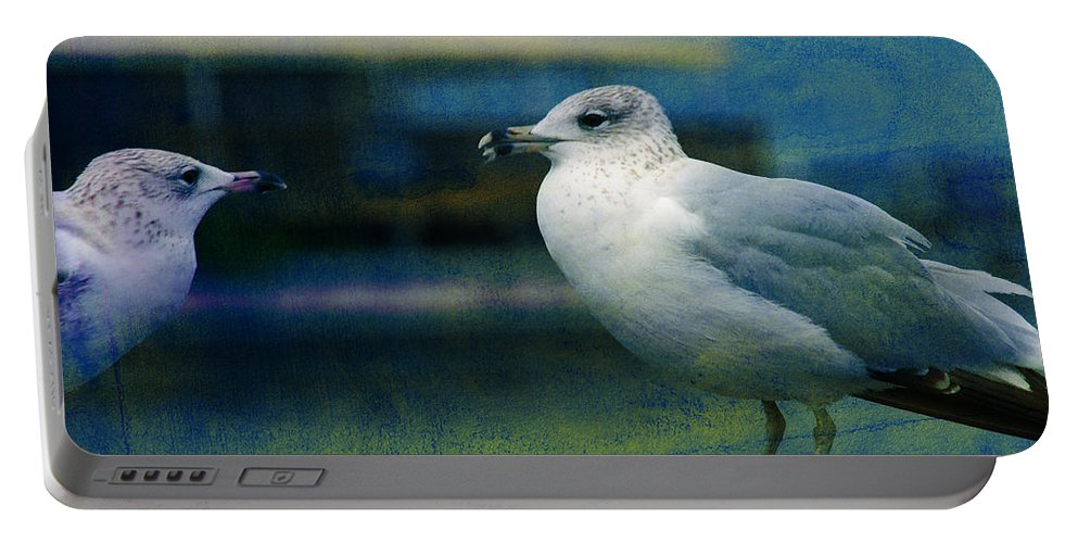 Seagulls Portable Battery Charger featuring the photograph What's Up Bro' by Susanne Van Hulst