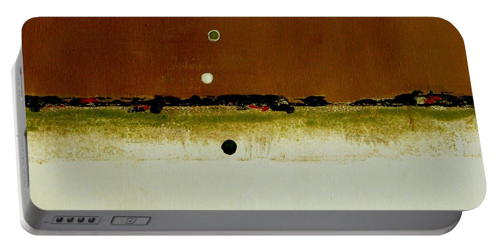 Abstract Portable Battery Charger featuring the painting Whats Your Line by Ruth Palmer