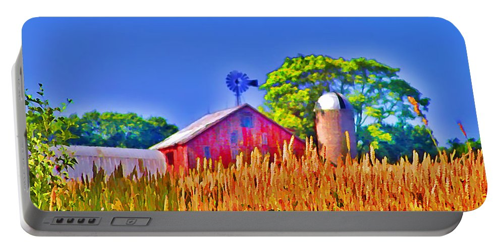 Gettysburg Portable Battery Charger featuring the photograph Wheat Farm Near Gettysburg by Bill Cannon