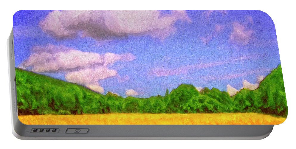 Wheat Field Portable Battery Charger featuring the painting Wheat Field by Dominic Piperata