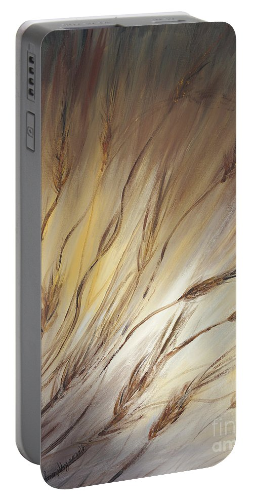Wheat Portable Battery Charger featuring the painting Wheat In The Wind by Nadine Rippelmeyer