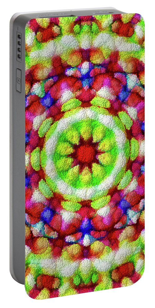 Mandala Art Portable Battery Charger featuring the painting Wheel by Jeelan Clark
