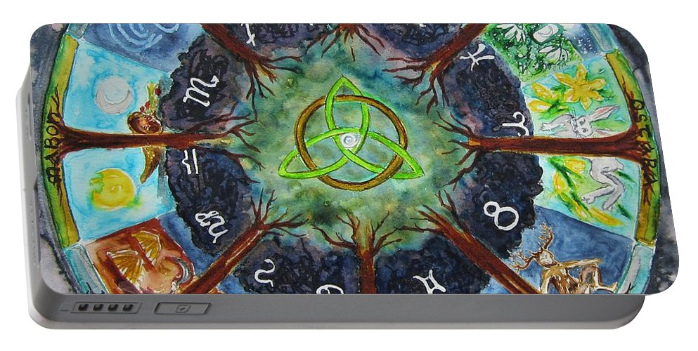 Mandala Portable Battery Charger featuring the painting Wheel Of The Year by Christine Kfoury