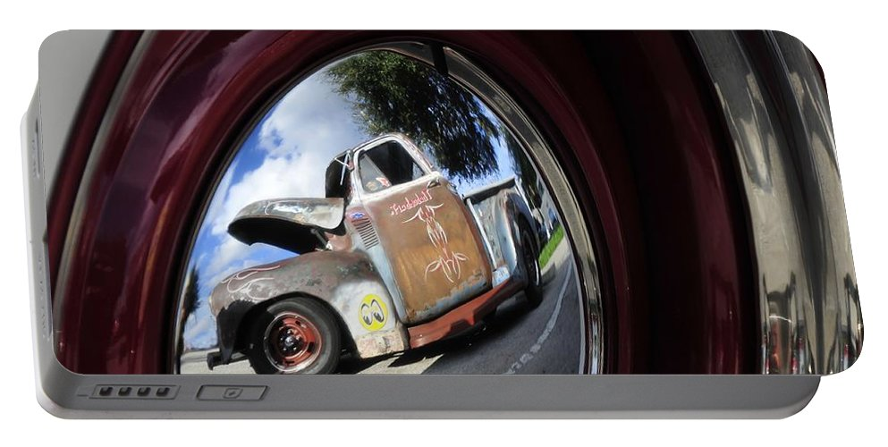 Old Truck Portable Battery Charger featuring the photograph Wheel Reflections by David Lee Thompson