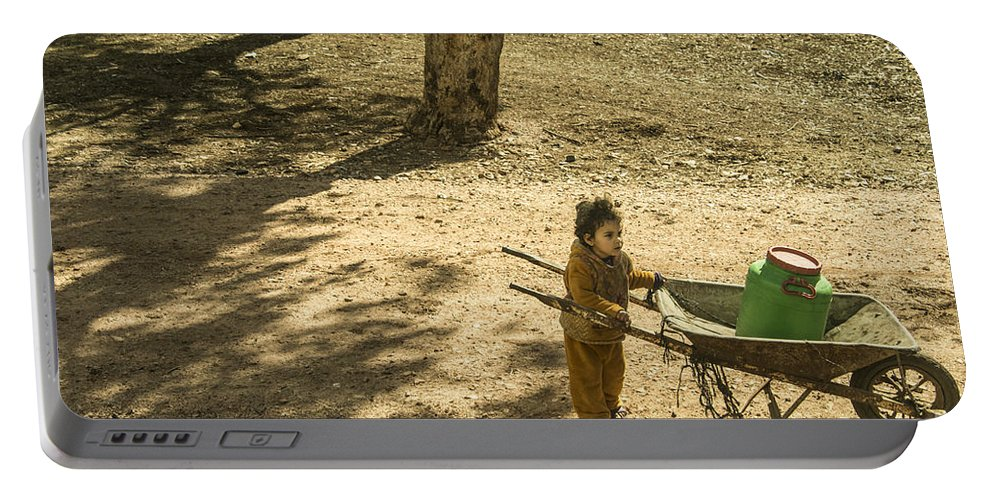 Wheelbarrow Portable Battery Charger featuring the photograph Wheelbarrow Girl by Rob Hawkins