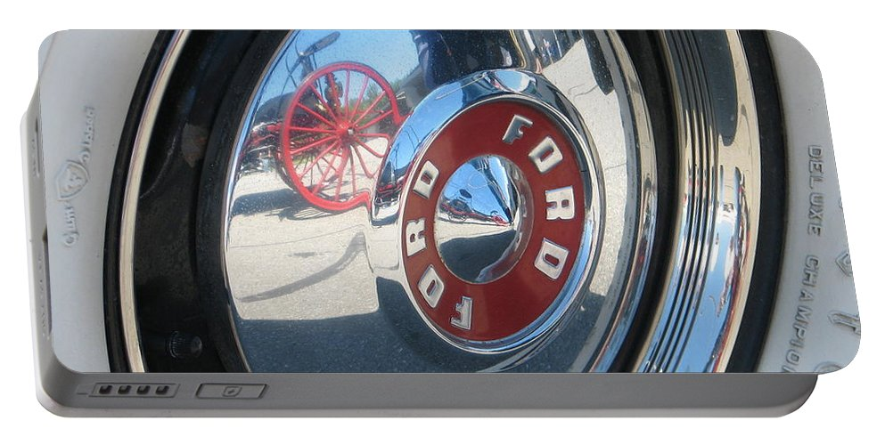 Ford Portable Battery Charger featuring the photograph Wheels by Kelly Mezzapelle