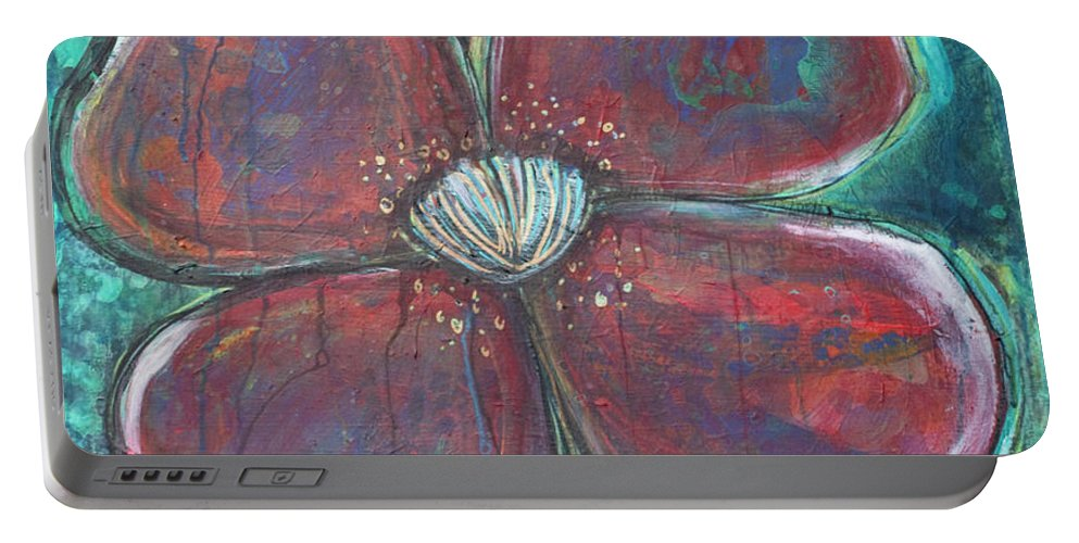 Poppy Portable Battery Charger featuring the painting When I Finally Grow Up by Laurie Maves ART