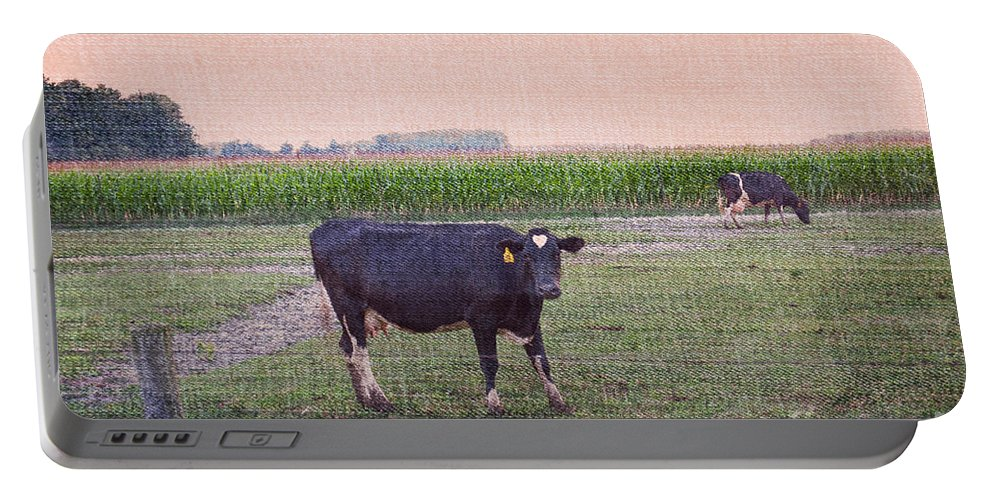 Cow Portable Battery Charger featuring the photograph When I Finish My Dinner I'll Deal With You by Paulette B Wright