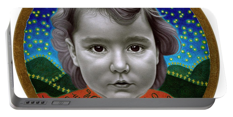 Photorealism Portable Battery Charger featuring the drawing When I Grow Up by Chuck Bowden