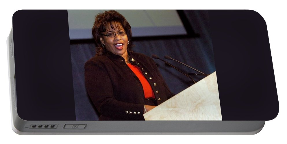 Public Speaking Portable Battery Charger featuring the photograph When She Was A Speaker by Angela L Walker