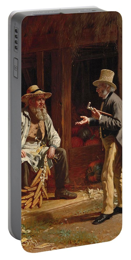 Thomas Waterman Wood Portable Battery Charger featuring the painting When We Were Boys Together by Thomas Waterman Wood